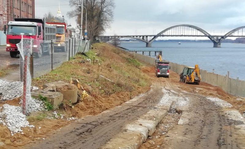 Готовность объекта 88%: в Рыбинске продолжаются работы по берегоукреплению
