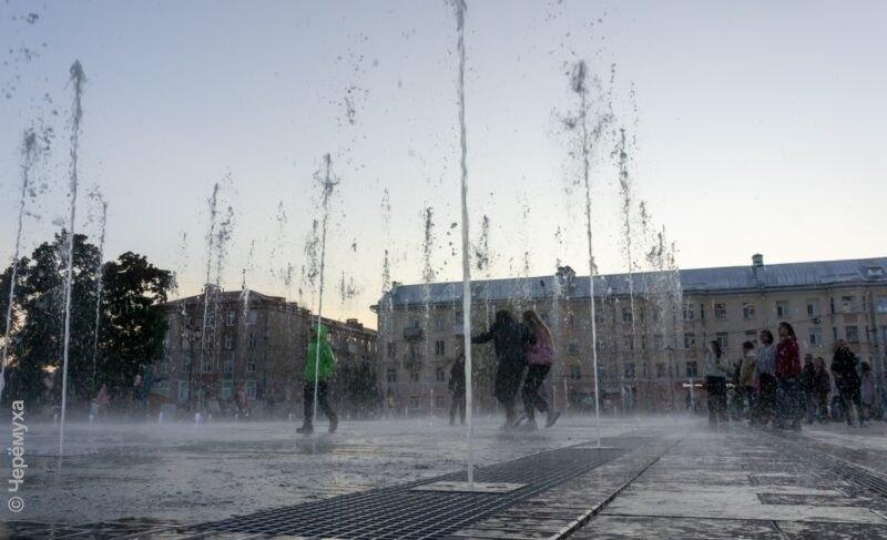 Дубль два. На площади Дерунова снова запустили фонтан в тестовом режиме. Фото и видео
